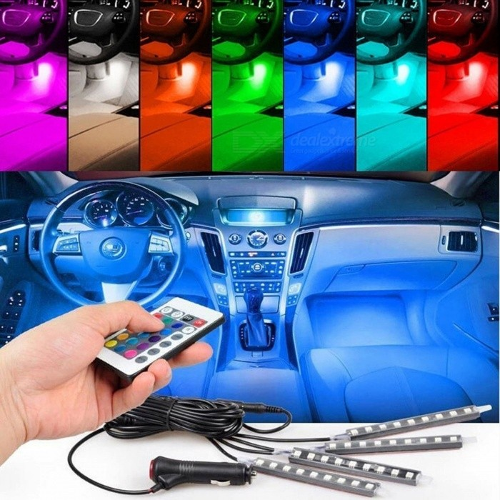 4Pcs/Set 7-Color Changeable LED Atmosphere Strip Light Kit with Wireless Remote Control for Car Styling Interior Decoration Changeable