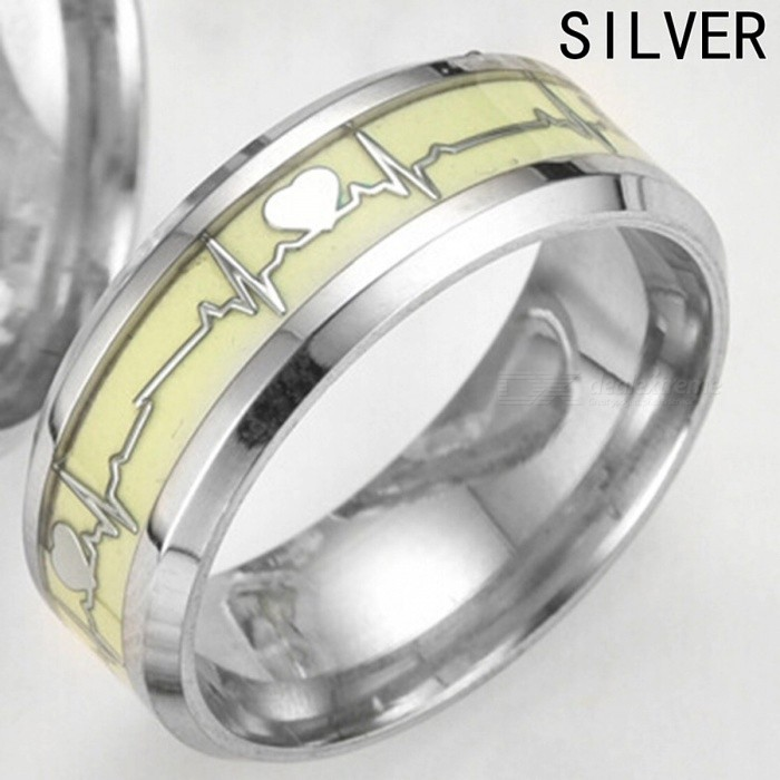 Cool Romantic Love Heart Decoration Luminous Ring Glowing in the Dark Couple Ring Stainless Steel Jewelry Ring Gold/6