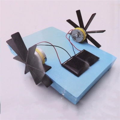 15*13*8cm Model Robot Puzzle DIY Solar Powered Boat Rowing Assembling Educational Toy for Children, Kids  Blue