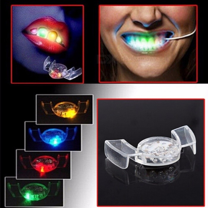 Pizies Portable LED Flash Light Up Mouth Guard Piece, Party Glowing Tooth Toy, Party Glowing Christmas Gift