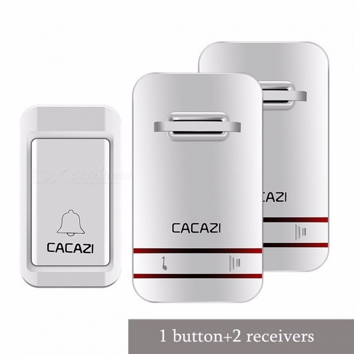 CACAZI 100-240V Wireless Doorbell No Battery LED Light Doorbell With Waterproof Push Button + 2 EU Plug Receivers