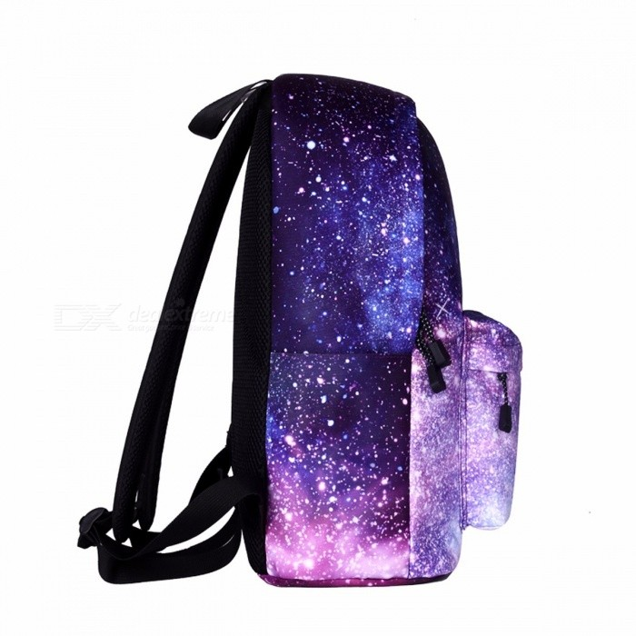 Stars Pattern School Backpack Bag for Teenage Girls, Universe Space Printing Canvas Female Backpack for College Students