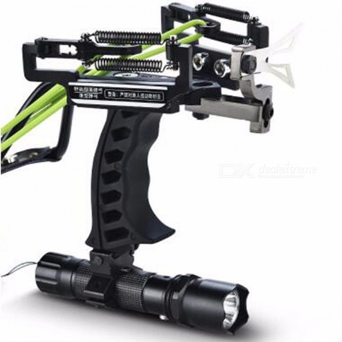 High Quality Portable Hunting Fishing Crossbow Bow Catapult, Outdoor Powerful Laser Slingshot for Shooting  Green Set A