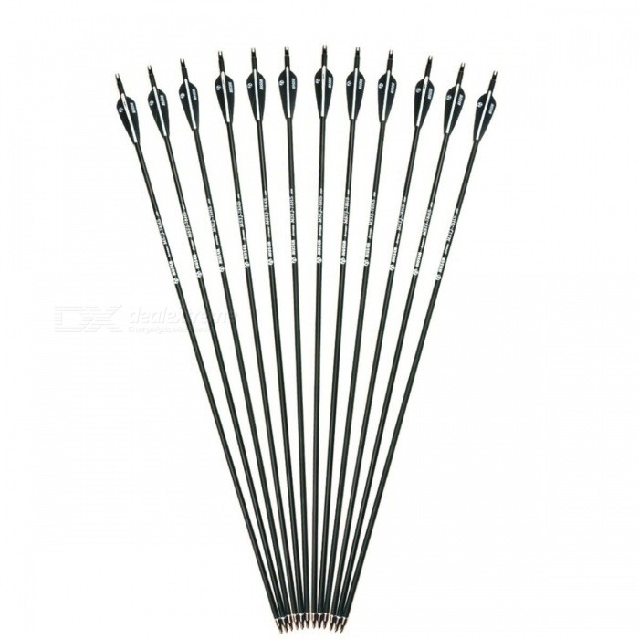 28/30 Inches Spine 500 Carbon Arrow with Black and White Color for Recurve Compound Bows Archery Hunting 6/12/24pcs/lot