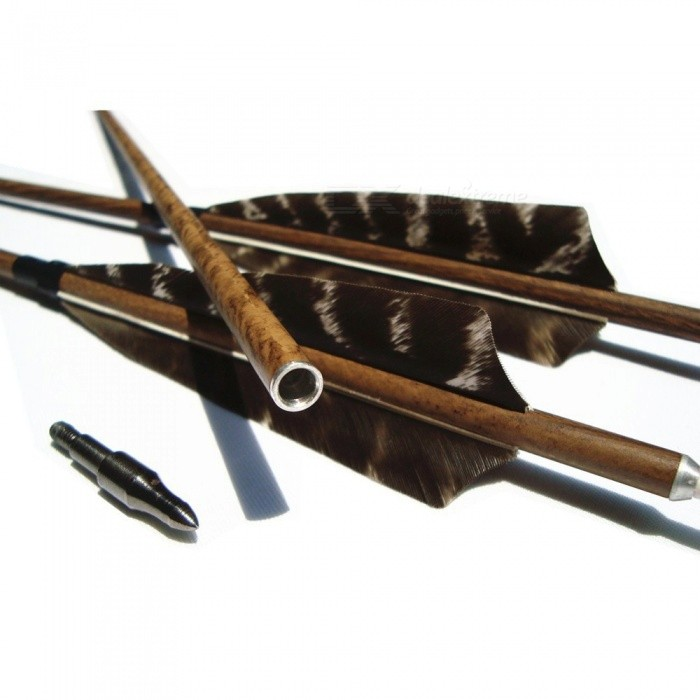 Spine 400/500/600 Archery Wood Grained Carbon Arrows Removable Broadheads 4 Inch Feather For Hunting Bow 29/30/31 Inches 6PK