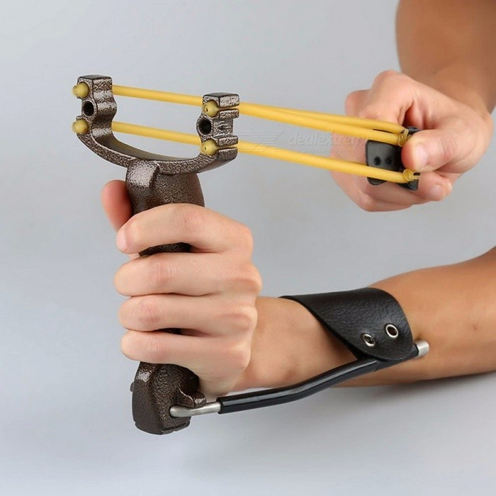 Powerful Target Shooting Slingshot with Folding Wrist Catapult Professional Hunter Hunting Fishing Sling Shot for Adults