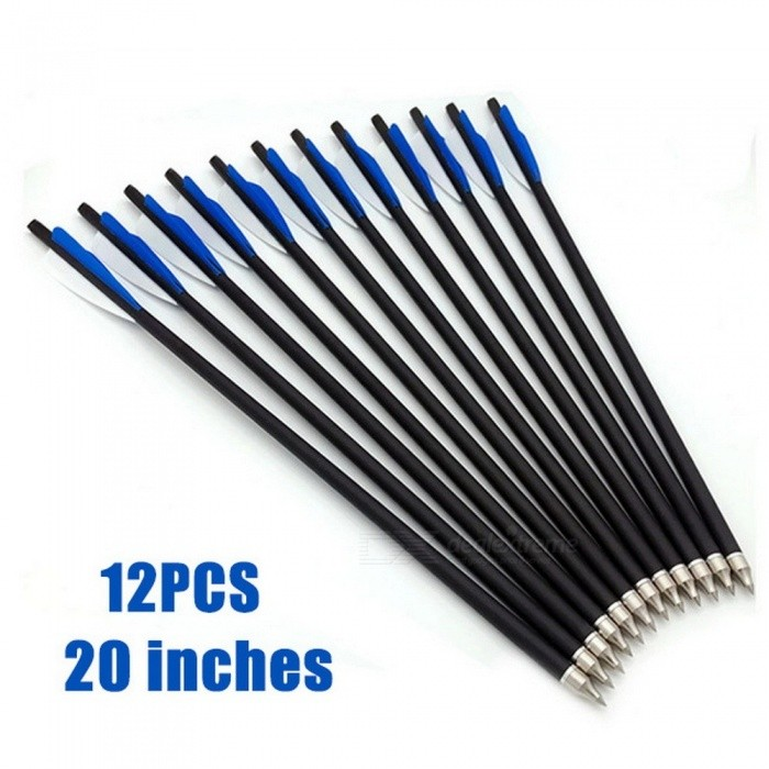 Hunting Archery Carbon Arrows Crossbow Arrows Spine 500 for Competition Practice Accessories Professional 17/20/22 Inches 12PCS