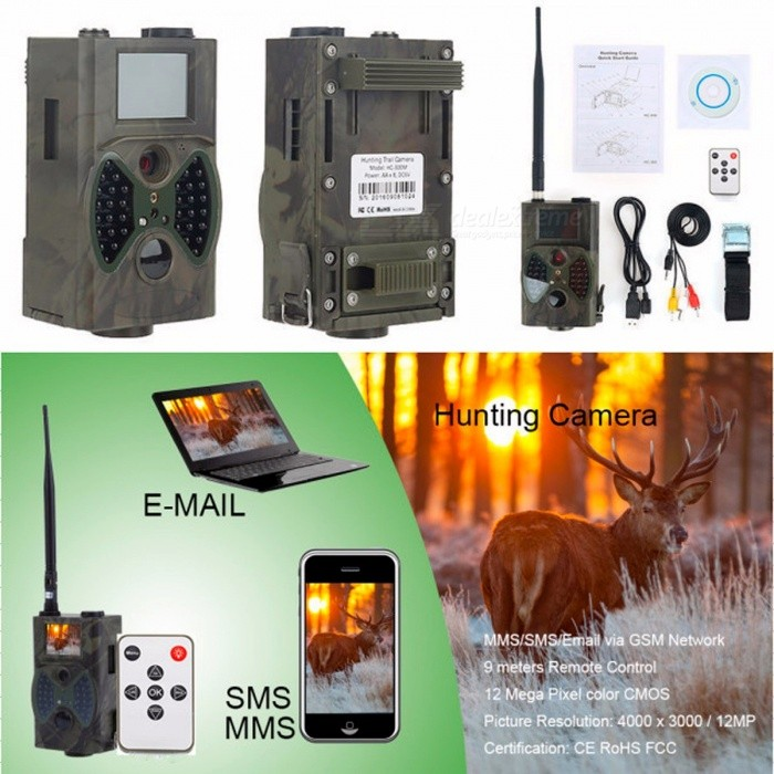 HC300M IR Digital Hunting Trail Camera 12MP 1080p Photo Traps GPRS GSM Animal Wild Trap Camera Animal MMS GPRS GSM Photo Traps HC300MDescription<br><br><br><br><br>Brand Name: UnionCam<br><br><br><br><br><br><br><br><br><br><br><br><br>Three Options are Available: 1. Solar Panel for Hunting Camera; &amp;nbsp;&amp;nbsp;2. HC300A Hunting Camera; &amp;nbsp;3. HC300M Hunting Camera <br><br><br>&amp;nbsp;<br><br><br>HC300A is the basic trail camera that cannot send photos to mobile phone &amp;amp; email. <br><br><br>&amp;nbsp;<br><br><br><br>HC300M is the upgrade camera that can send photos to mobile phone &amp;amp; email.<br><br><br><br> <br><br><br><br><br><br><br>Product Description for HC300M: <br><br><br><br>Feature:&amp;nbsp; <br><br><br>1.&amp;nbsp;12 language selection: English French German Italian Spanish Swedish Danish Finnish Dutch Portuguese, Russian and Polish. <br><br><br><br><br>2. Motion triggered.&amp;nbsp;<br><br><br>3. Auto-distinguish images. Color images in daytime / black &amp;amp; white night images.&amp;nbsp;<br><br><br>4. Store pictures / videos in 32GB TF card. (NOT included). &amp;nbsp;<br><br><br>5. Three mode: camera, video, camera+video.&amp;nbsp;<br><br><br>6. High resolution pictures / videos.&amp;nbsp;<br><br><br>7. Date, time, temperature and moon phase stamp on each picture.&amp;nbsp;<br><br><br>8. Multi-shot of 1/3/6/9 pictures.<br><br><br>9. Sending picture via 2G GSM MMS or GPRS;<br><br><br>10. Four bands: 850/900/1800/1900MHZ.&amp;nbsp;<br><br><br>11.LED quantity: 36pcs.<br><br><br><br>12MP 940nm IR digital Hunting Camera HC300M GPRS GSM Animal Wildlife Camera photo trap<br>Applications:&amp;nbsp;<br>1.&amp;nbsp;For&amp;nbsp;hunting,&amp;nbsp;automatically&amp;nbsp;to&amp;nbsp;take&amp;nbsp;pictures / videos&amp;nbsp;of&amp;nbsp;wild&amp;nbsp;animals<br><br><br>2.&amp;nbsp;Home&amp;nbsp;surveillance&amp;nbsp;<br><br><br>3.&amp;nbsp;Office&amp;nbsp;surveillance&amp;nbsp;<br><br><br>4.&amp;nbsp;Small&amp;nbsp;and&amp;nbsp;medium&amp;