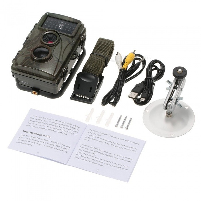 720P 12MP Hunting Camera Waterproof Wild Trail Camera Infrared Night Vision Camera Animal Observation Recorder w/ Mount & Cable
