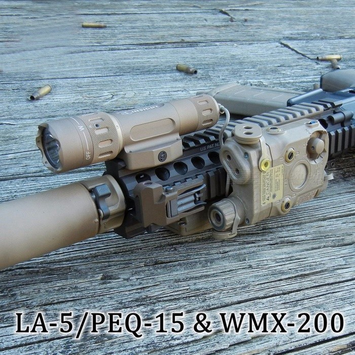 Element-Airsoft-EX418-Tactical-Light-Combo-Includes-PEQ-15-WMX-200-Flashlight-Double-Remote-Control-Switch-Fits-20mm-RIS-Rail-Brown