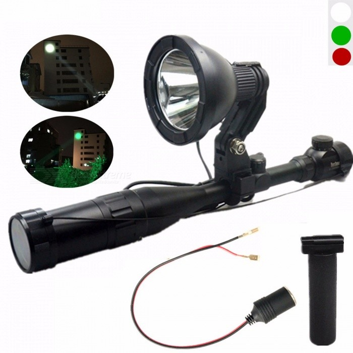 1200lm XM L2 T6 10W LED 12V 5'' White/Green/Red Spot Beam Rifle Lights Scope Mounted Spotlight With Female Plug Handle