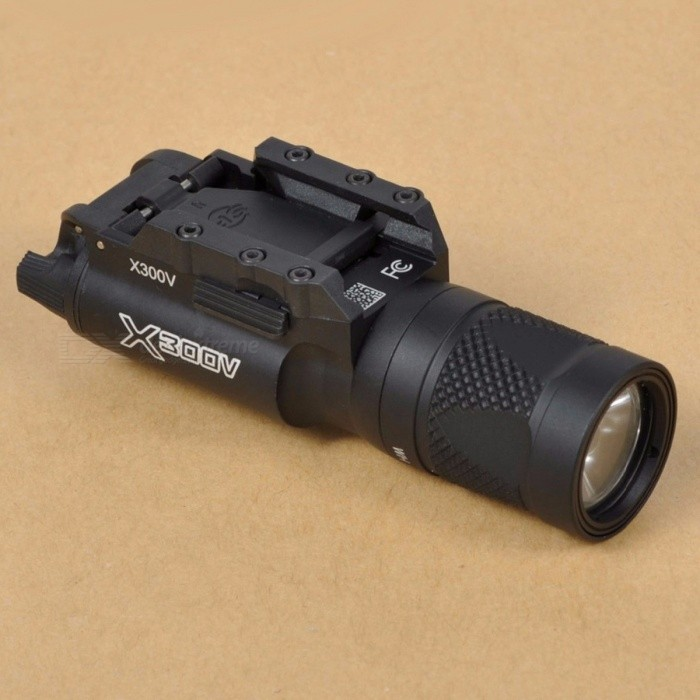TGPUL Tactical X300V Pistol LED Flashlight Strobe Weapon Light 500 Lumens Handgun Airsoft Hunting Shooting Rail Light WhiteDescription<br><br><br><br><br><br><br><br><br>Weight: 190g <br><br><br>Material: Aluminum <br><br><br>Color: Black/ Dark Earth <br><br><br>Bazel Diameter:: 1.10 inches(28mm) <br><br><br> Length:: 4.06 inches(103mm) <br><br><br>Rail Type: 20mm <br><br><br>Batteries:  2 x 3V CR123A (not included) <br><br><br>Emitter type: R5 <br><br><br>Max Output: White light 500 lumens 3w <br><br><br><br>Basic Data <br><br><br>&amp;nbsp;Material: 6061-T6 Aluminum,MIL-SPEC Type III Hard Anodized <br><br><br>&amp;nbsp;Weight: 6.7oz. <br><br><br>&amp;nbsp;Bezel Diameter: 1.10 in. <br><br><br>&amp;nbsp;Mount: Picatinny Weaver Rail Mount <br><br><br>&amp;nbsp;<br><br><br>Function Data <br><br><br>&amp;nbsp;Bulb: R5 <br><br><br>&amp;nbsp;Output:&amp;nbsp; <br><br><br>&amp;nbsp; &amp;nbsp; White Light: 500 lumens 3W <br><br><br>&amp;nbsp;Power: 2x CR123A Battery(Not Included in Package) <br><br><br>&amp;nbsp;Battery Life: 1.5 hours <br><br><br>&amp;nbsp;<br><br><br>Function-Switch Table: <br><br><br>&amp;nbsp;<br><br><br>1. White Light &amp;nbsp; 2. Strobe <br><br><br>&amp;nbsp;<br><br><br><br><br><br><br>Head&amp;nbsp;Switch<br><br><br>Rear&amp;nbsp;Switch<br><br><br>Function<br><br><br><br><br>WH<br><br><br>On<br><br><br>White&amp;nbsp;Light<br><br><br><br><br>IR<br><br><br>On<br><br><br>Strobe<br><br><br><br><br><br><br>&amp;nbsp;<br><br><br>Package <br><br><br>&amp;nbsp;1x &amp;nbsp;Flashlight <br><br><br>&amp;nbsp;1x &amp;nbsp;QD Pad(1 on the flashlignt, total 2 pieces) <br><br><br>&amp;nbsp;1x &amp;nbsp;Allen Wrench <br><br><br>Box Dimension: 175x75x55 mm<br>