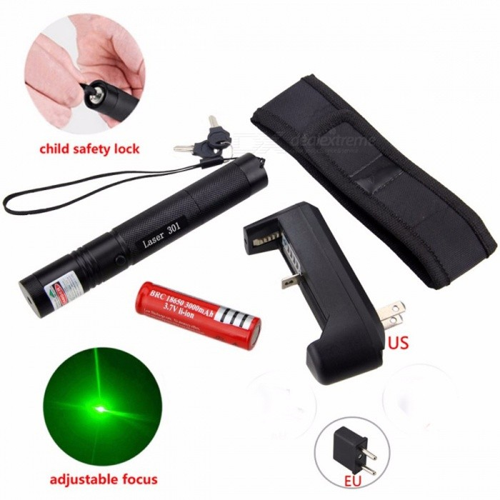 Powerful 5mW Green Red Purple Lazer Pen Light Military Adjustable Focus Laser Pointer with 18650 Battery Charger