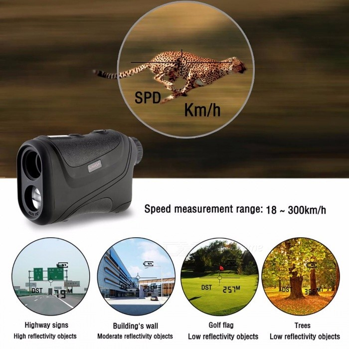 Portable 600m Handheld Waterproof Monocular Metre Golf Laser Range Finder, Hunting Telescope Distance Meter