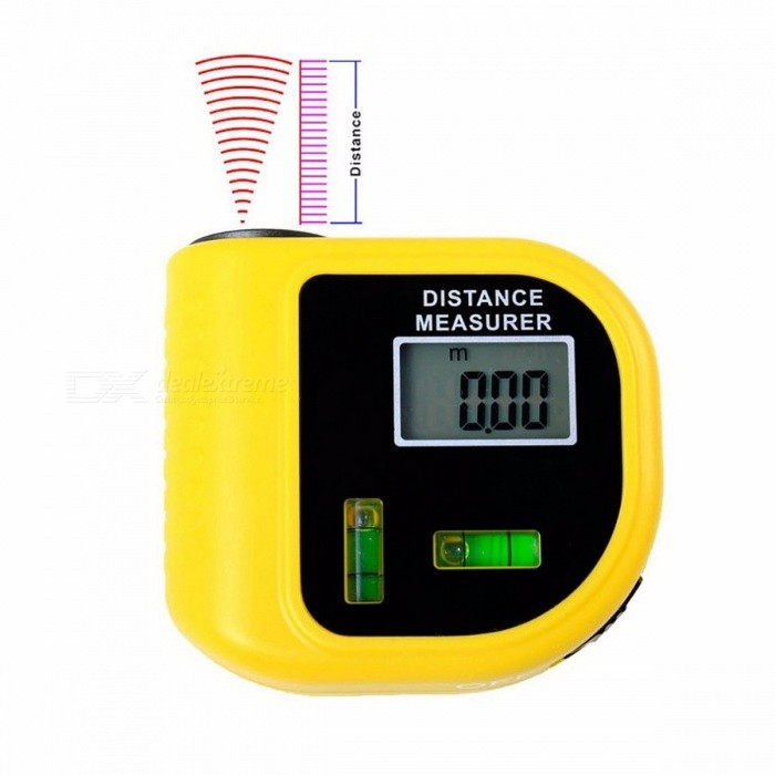 Portable Handheld Laser Rangefinder, Ultrasonic Distance Measurer Meter Range Finder with LCD Display yellowDescription<br><br><br><br><br>Measurement Distance: 20<br><br><br>Operation System: Laser<br><br><br><br><br>Brand Name: OUTAD<br><br><br><br><br><br><br><br><br><br><br><br>Features:<br>Ultrasonic<br> Distance Meter Measurer The ULTRASONIC DISTANCE METER + LASER POINTER <br>is a perfect tool to quickly know the distance, area and volume of a <br>room! It can measure distances in a straight-line from 0.5m to 18m. Your<br> distance measurer transmits ultrasonic waves to a point you want to <br>measure. Afterwards, it measures the time taken by the waves to reflect <br>and then calculates and re-transcribes the distance<br><br>1.100% Brand new, high quality<br>2.LCD with Backlight<br>3.Your distance measurer transmits ultrasonic waves to a point you want to measure<br>4.Auto OFF: switches off if you do not press any key for about 1 min<br>5.It measures the time taken by the waves to reflect and then calculates and re-transcribes the distance<br>6.Level function(one vertical level bubble, one horizontal level bubble)<br><br>Specification:<br>Output:&amp;nbsp; &amp;lt; 1mw<br>Measure distance: from 0.5m to 18m<br>Accuracy: +-0.5% +-1cm<br>Resolution: 1cm or 21 inch<br>Units of Measure : Feet/Meters<br><br>Package includes:<br>1 x Ultrasonic distance measurer (Battery is not included)<br>
