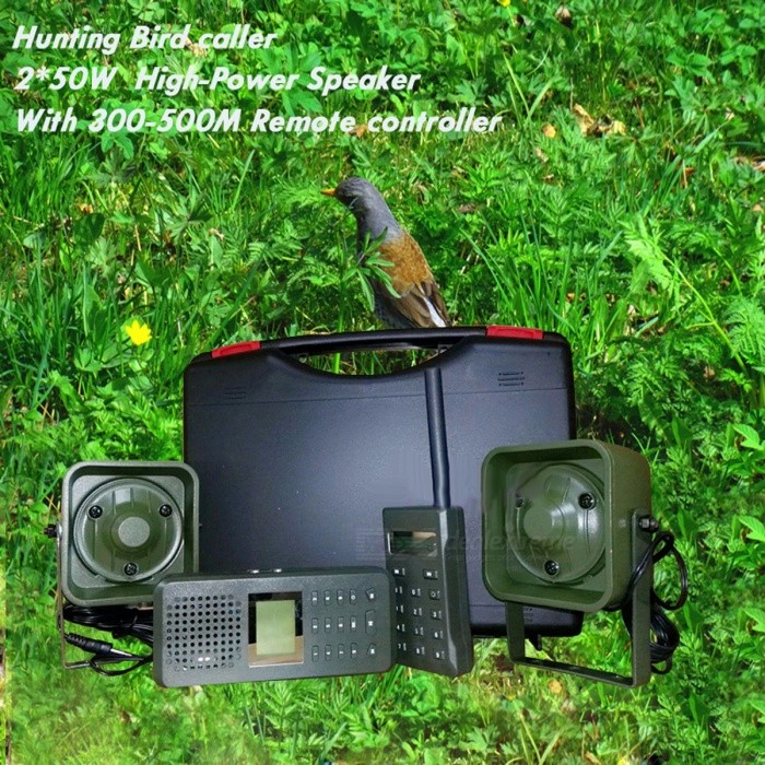 Hunting Bird Sound MP3 Player, Goose Duck Sounds Caller Hunting Decoy with 300m-500m Remote Controller, 2Pcs 50W Speakers