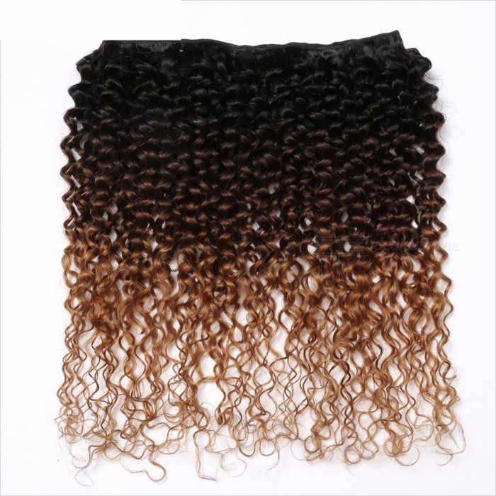 3 Tone Ombre Brazilian Hair Bundles, Kinky Curly Weave Non-Remy Human Hair Extensions with No Shedding
