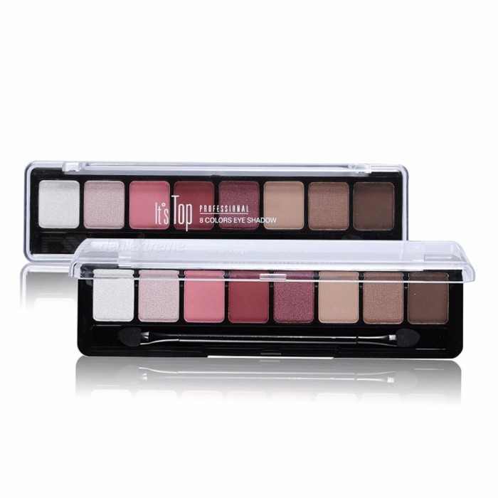 8 Earth Color Nude Makeup Eye Shadow Palette, Smoky Glitter Matte Make Up Brush Tool Set, Eyeshadow Maquillage Cosmetic