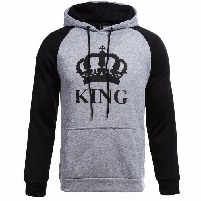 Knitted King Queen Letter Printed Couple Hoodies, Hip Hop Street Wear Sweatshirt, Hooded Pullover Tracksuit for Autumn Winter