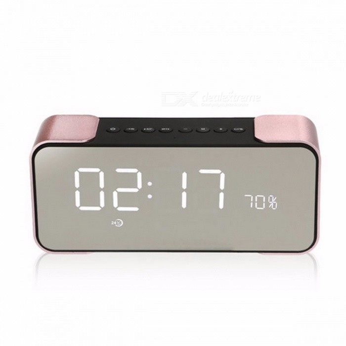 TOPROAD Portable Wireless Stereo Aluminum Parlante FM Radio Bluetooth Speaker Altavoz, Support Time Alarm Clock, TF Card,Line In