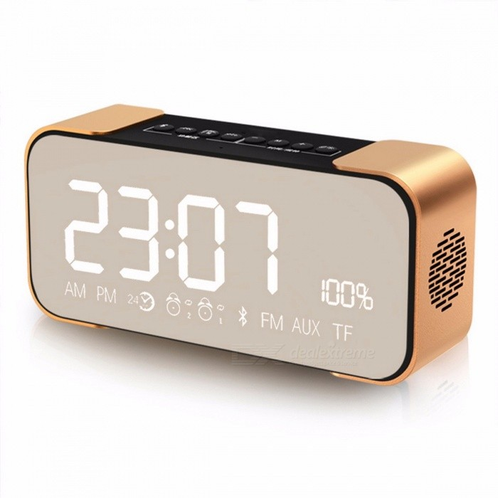 TOPROAD Portable Wireless Stereo Aluminum Parlante FM Radio Bluetooth Speaker Altavoz, Support Time Alarm Clock, TF Card,Line In Silverdesk clock<br>Description<br><br><br><br><br>Support APP: No <br><br><br>Output Power: Other <br><br><br><br><br>Support Apt-x: No <br><br><br>Audio Crossover: Two-Way <br><br><br><br><br>Intelligent Personal Assistant: None <br><br><br>Remote Control: No <br><br><br><br><br>Playback Function: MP3,Radio <br><br><br>Support Memory Card: Yes <br><br><br><br><br>Channels: 2 (2.0) <br><br><br>Material: Aluminum <br><br><br><br><br>Communication: Bluetooth,AUX <br><br><br>Speaker Type: Portable <br><br><br><br><br>Frequency Range: Other <br><br><br>Display Screen: Yes <br><br><br><br><br>Brand Name: TOPROAD <br><br><br>Voice Control: No <br><br><br><br><br>Battery: Yes <br><br><br>Waterproof: No <br><br><br><br><br>Number of Loudspeaker Enclosure: 1 <br><br><br>Display Screen: Yes <br><br><br><br><br>Cabinet Material: Metal <br><br><br>Feature: None <br><br><br><br><br>Power Source: DC <br><br><br>Built-in Microphone: Yes <br><br><br><br><br>PMPO: 10W <br><br><br>Wi-Fi Music: Other <br><br><br><br><br><br><br><br><br><br><br>Features:<br><br><br><br><br><br>Built-in Bluetooth wireless transmission.<br><br><br>Support MP3 songs played TF card store<br><br><br>Support all external terminal 3.5 mm audio input.<br><br><br>Support FM channel automatically<br><br><br>Support can be charging circuit<br><br><br>Support Time clock, Alarm clock, Snooze function<br><br><br><br><br><br><br><br><br>Specifications:<br><br><br><br><br><br>Item No.PTH-305<br><br><br>Transfer Distance: &amp;lt;10m<br><br><br>Power Output: 5w x 2<br><br><br>S/N: &70dB<br><br><br>Speaker impedance: 4ohm <br><br><br>Frequency response: 80HZ-18KHZ<br><br><br>Bluetooth version: 4.0<br><br><br>FM: 87.5-108MHZ<br><br><br>Power supply: 3.7v 2200mAH<br><br><br>Product color: Silver, gold, rose gold<br><br><br>Support A2DP/AVRCP/HFP/HSP<br><br><br><br><br><br><br><br><br>Package List:<br><br><br><br><br><br>1 x Bluetooth&amp;nbsp; speaker<br><br><br>1 x USB Cable<br><br><br>1 x Audio Cable (without retail box )<br>