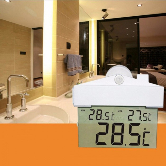 Creative Design LCD Digital Window Suction Cup Thermometer Hydrometer, Indoor Outdoor Weather Station