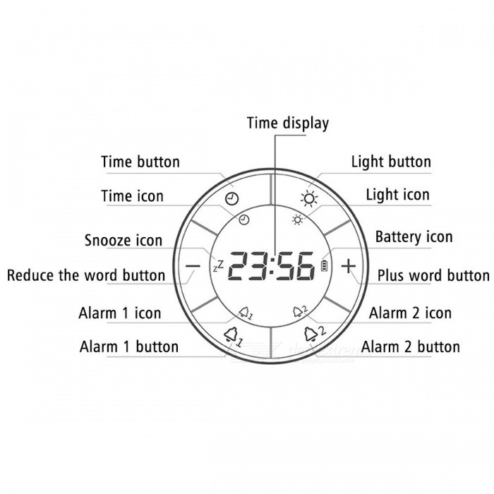 Flip Digital Time Display Desktop Alarm Clock w/ Dual Alarms Snooze Function, Dimmable Table Bedside Lamp Night Light