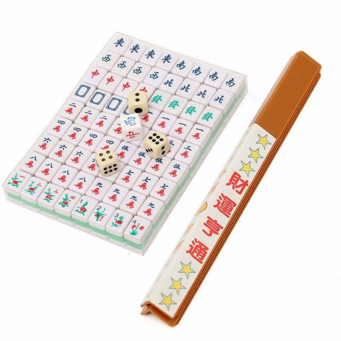 Portable Travel Mahjong Set Chinese Antique Mini Mahjong Games Home Games Mini Mahjong Chinese Funny Family Table Board Game