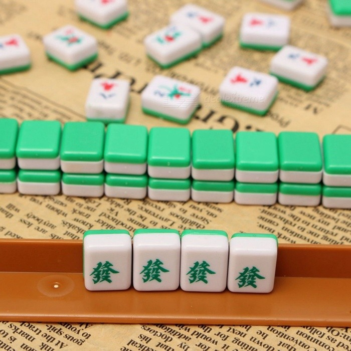 Portable Travel Mahjong Set Chinese Antique Mini Mahjong Games Home Games Mini Mahjong Chinese Funny Family Table Board Game Mahjong