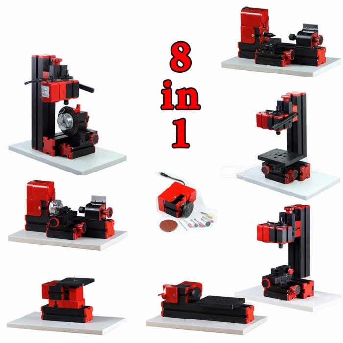 8-in-1 Mini Lathe Machine, Mini Combined Machine Tool, For Soft Metal or Wood Processing, Best Gift for Students