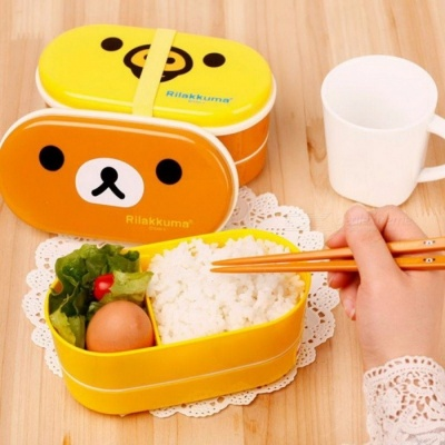 2-Layer Cartoon Rilakkuma Lunchbox Bento Lunch Container Food Container Japanese Style Plastic Lunch Storage Box brown bear