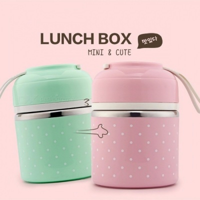 WOTHBUY Portable Cute Mini Japanese Bento Box, Leak-Proof Stainless Steel Thermal Lunch Box, Kid's Picnic Food Storage Container Small Pink 1 Layer