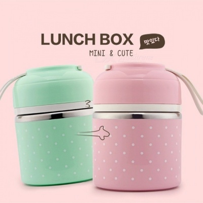 WOTHBUY Portable Cute Mini Japanese Bento Box, Leak-Proof Stainless Steel Thermal Lunch Box, Kid's Picnic Food Storage Container Small Green 1 Layer
