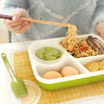 4-Cell Healthy Plastic Food Container, 1000ML Multifunctional Adults Lady Kids Lunchbox, Microwaveable Lunch Bento Box  Green