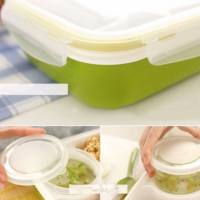 4-Cell Healthy Plastic Food Container, 1000ML Multifunctional Adults Lady Kids Lunchbox, Microwaveable Lunch Bento Box