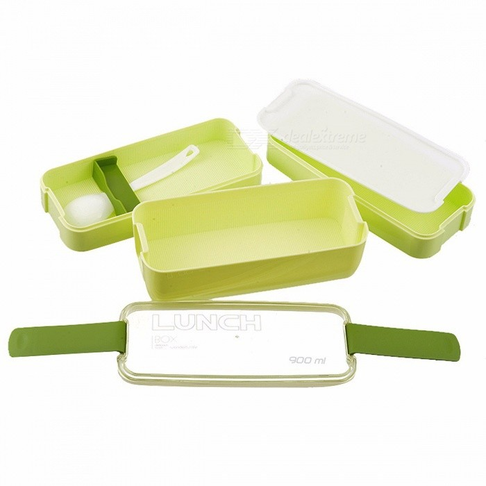 Urijk Travel Food Lunch Boxes Plastic Lunchbox Storage Food Container with Spoon Bento Box Organizer Containers for Food Kitchen