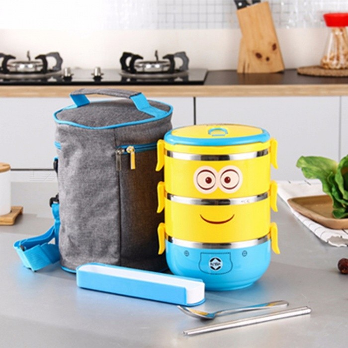 Cute Cartoon Stainless Steel Lunch Tiffin Box with Plastic Thermal Bag Dinnerware Set for Children Kids