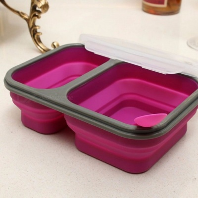 2-Cell Silicone Collapsible Portable Bento Box, 900ML Microwave Oven Bowl, Folding Food Storage Lunch Container Lunchbox Purple