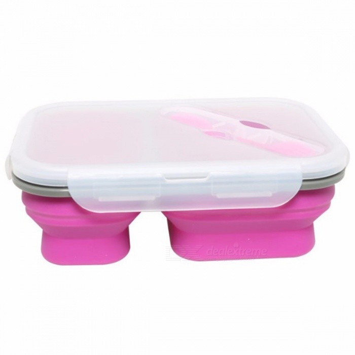 2-Cell Silicone Collapsible Portable Bento Box, 900ML Microwave Oven Bowl, Folding Food Storage Lunch Container Lunchbox