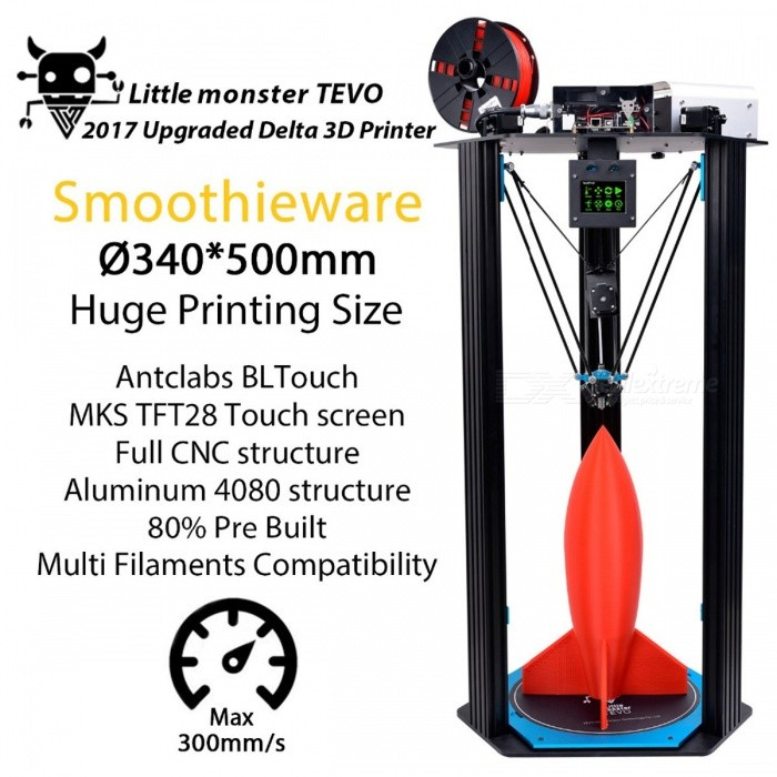 Newest TEVO Little Monster Delta 3D Printer with Large Printing Area, OpenBuilds Extrusion / Smoothieware / MKS TFT28 / Bltouch