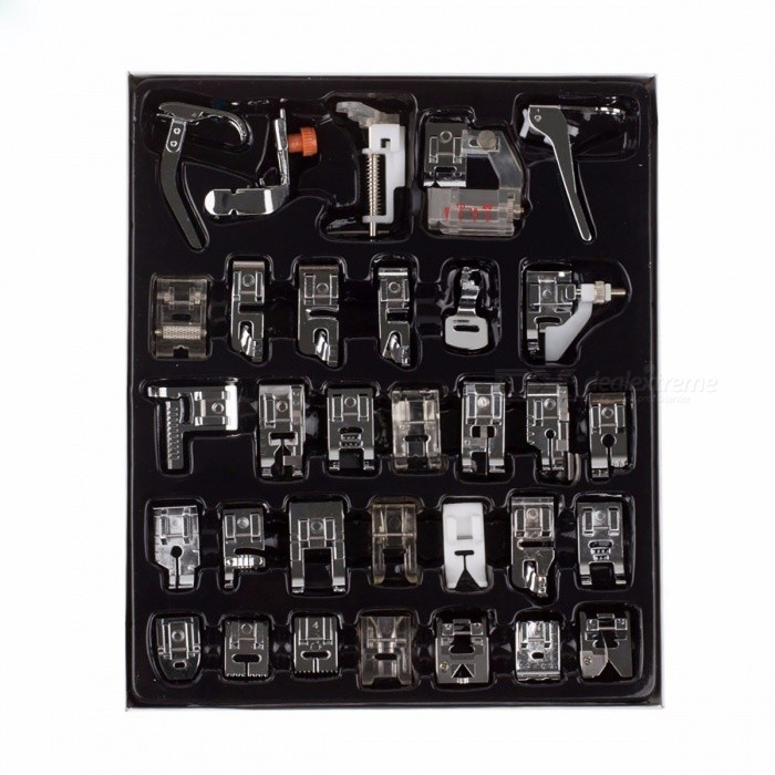 32-Piece Home Domestic Sewing Machine Presser Foot Feet Kit Set with Box for Brother, Singer, Janome, Etc