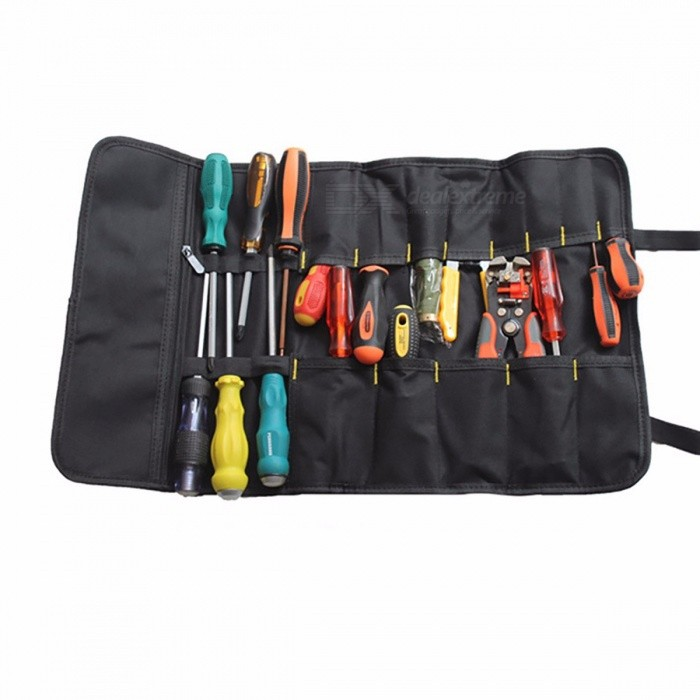 Urijk Roll-feed Portable 600D Oxford Fabric Canvas Tool Bag, Electrician Package for Storage Repairing Tool Screwdriver Plier