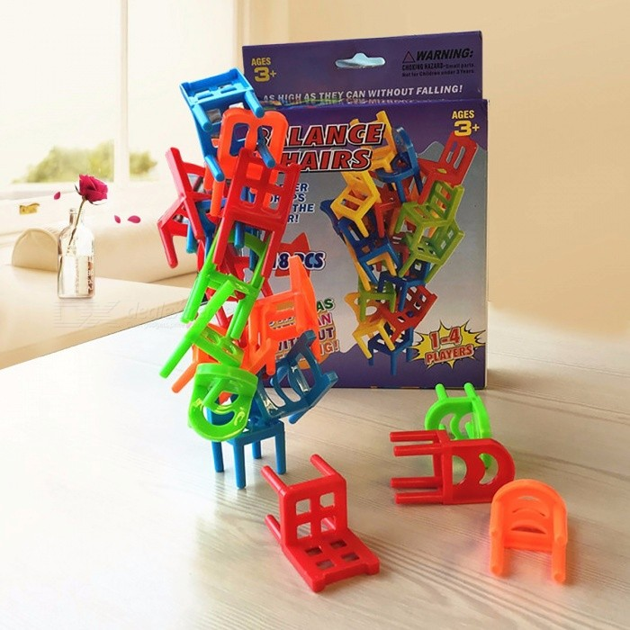 18Pcs Environmentally-friendly ABS Plastic Mini Balance Chairs Board Game, Educational Balance Toy Puzzle for Children Kids