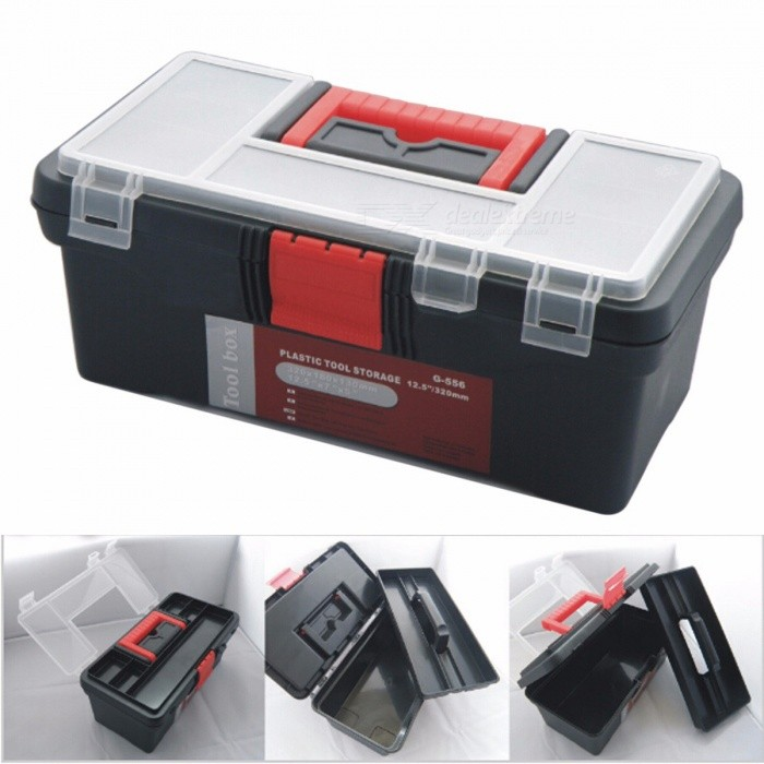 Portable 12.5 Inches 32 x 18 x 13cm Plastic Tool Box with Handle, Tray, Compartment Design, Storage Bag Organizer Toolbox