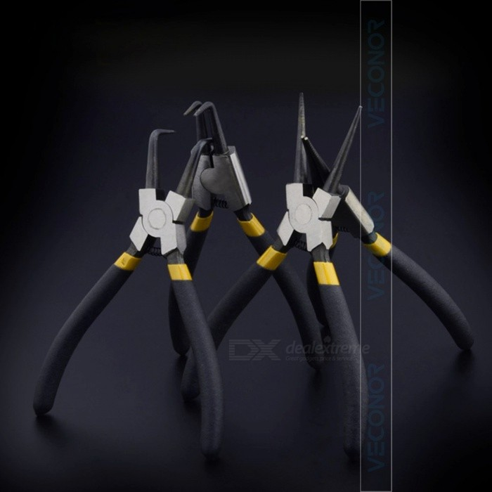 Veconor 4Pcs/Set 6 Inches Circlip Pliers, Internal External Curved Straight Tip Circlip Plier, Snap Ring Plier Mechanical Tool