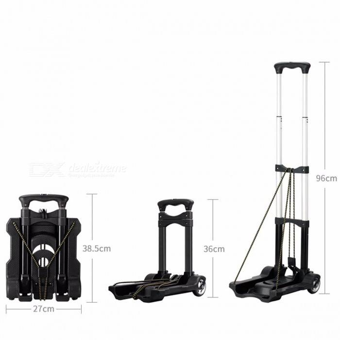 Folding Car Luggage Trolley Cart Carrier Use at Home, Small Portable Shopping Trolley, Retractable Trailer Handcart