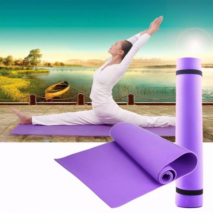 6mm Thickness Non-slip EVA Yoga Mat Exercise Pad, 68x24x0.24 Inches Gym Fitness Pilates Supplies for Yoga Workout PurpleDescription<br><br><br><br><br>Brand Name: Aolikes<br><br><br>Length: 173cm*61cm<br><br><br><br><br>Thickness: 6 mm (Beginner)<br><br><br>Material: Other<br><br><br><br><br><br><br><br><br><br><br><br>Type:Yoga mat <br><br><br>Function :Soft Thick,Non-Slip,Waterproof and dustproof<br> Yoga is a way to help us coordinate physical and mental <br>well-established traditional science. Yoga mat is a auxiliary tool for <br>Yoga exercise. Our Yoga mat is featured its top quality with low price, <br>excellent cushioning, high elasticity and resilience. Its made of eva <br>foam.<br> Soft, excellent flexibility, can reduce the pain of the body <br>in contact with the ground, slip effects and excellent toughness and <br>high tensile strength<br> Light weight, small size, easy to carry<br> Waterproof and dustproof, cleaning up the simple convenience<br><br><br>&amp;nbsp;<br><br><br>Material:Aluminum film EVA<br> Color: purple<br> Size: 68\X24\X0.24\ (173cmX60cmX0.6cm)<br> Net Weight: 271g<br> Package weight:301 g&amp;nbsp;&amp;nbsp;<br><br><br><br>1 x Yoga mat<br>