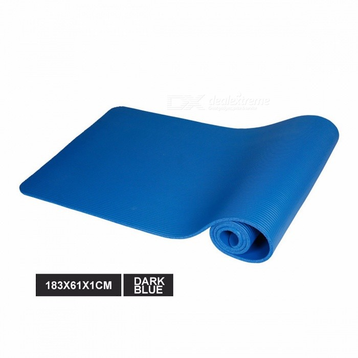 183 x 61 x 1cm Multifunctional Non-slip NBR Yoga Mat, 10mm Thickness Anti-skid Gym Pilate Yoga Pad for Exercise Fitness Deep Blue