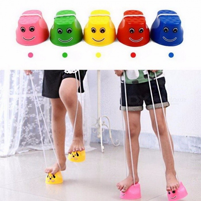 2Pcs/Pair Outdoor Jumping Stilts Toy, Movement Ability Developing Game Balance Shoes Funny Gadget for Children Kids