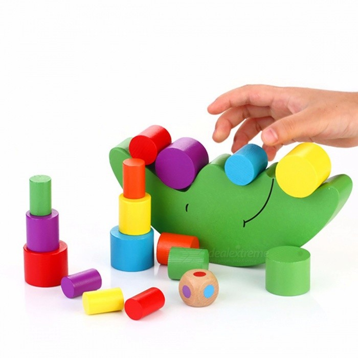 Educational Wooden Moon Balance Game Blocks Gift, Colorful DIY Building Blocks Toy for Kids Baby Children
